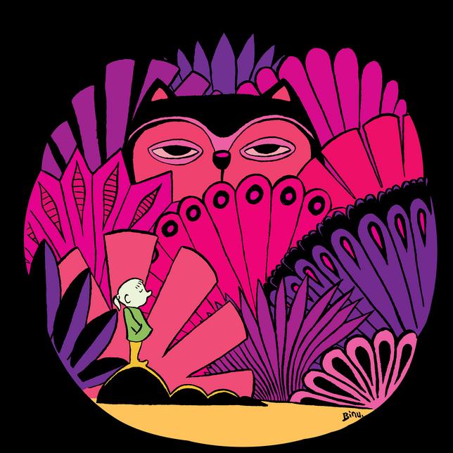 Big pink cat in da jungle