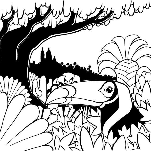 Toucan de Montmartre noir et blanc