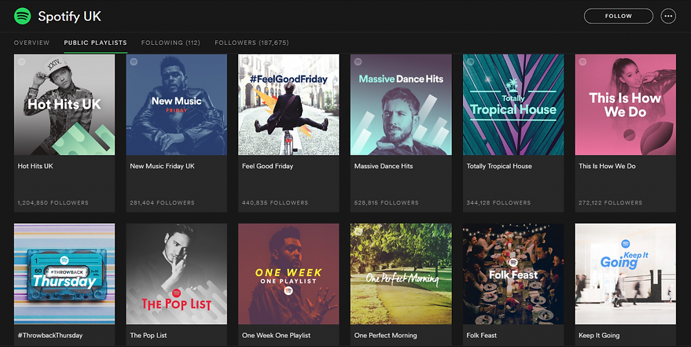 Public playlists: Spotify user can search by category