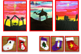 Christmas art, including silhouette cards and sewn stockings