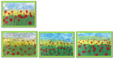 Paintings of poppies for Rememberance Day