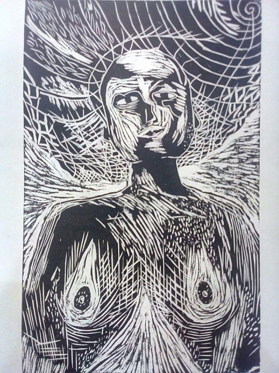Aline Fonseca. A prismática (2018), xilogravura sobre papel de seda.