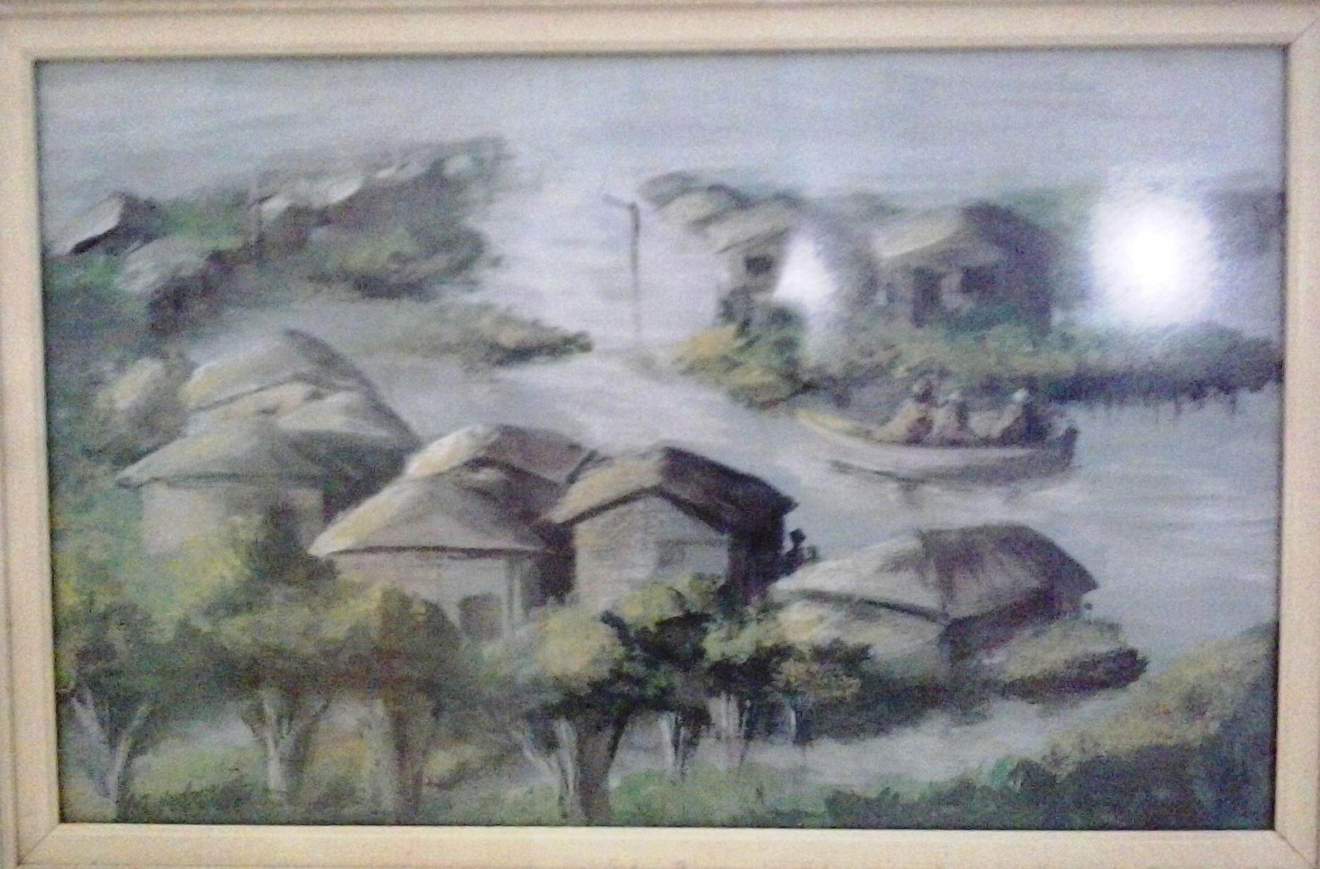 Vitoria Barros - Paisagem de enchete, 2001. 29.5x46.5