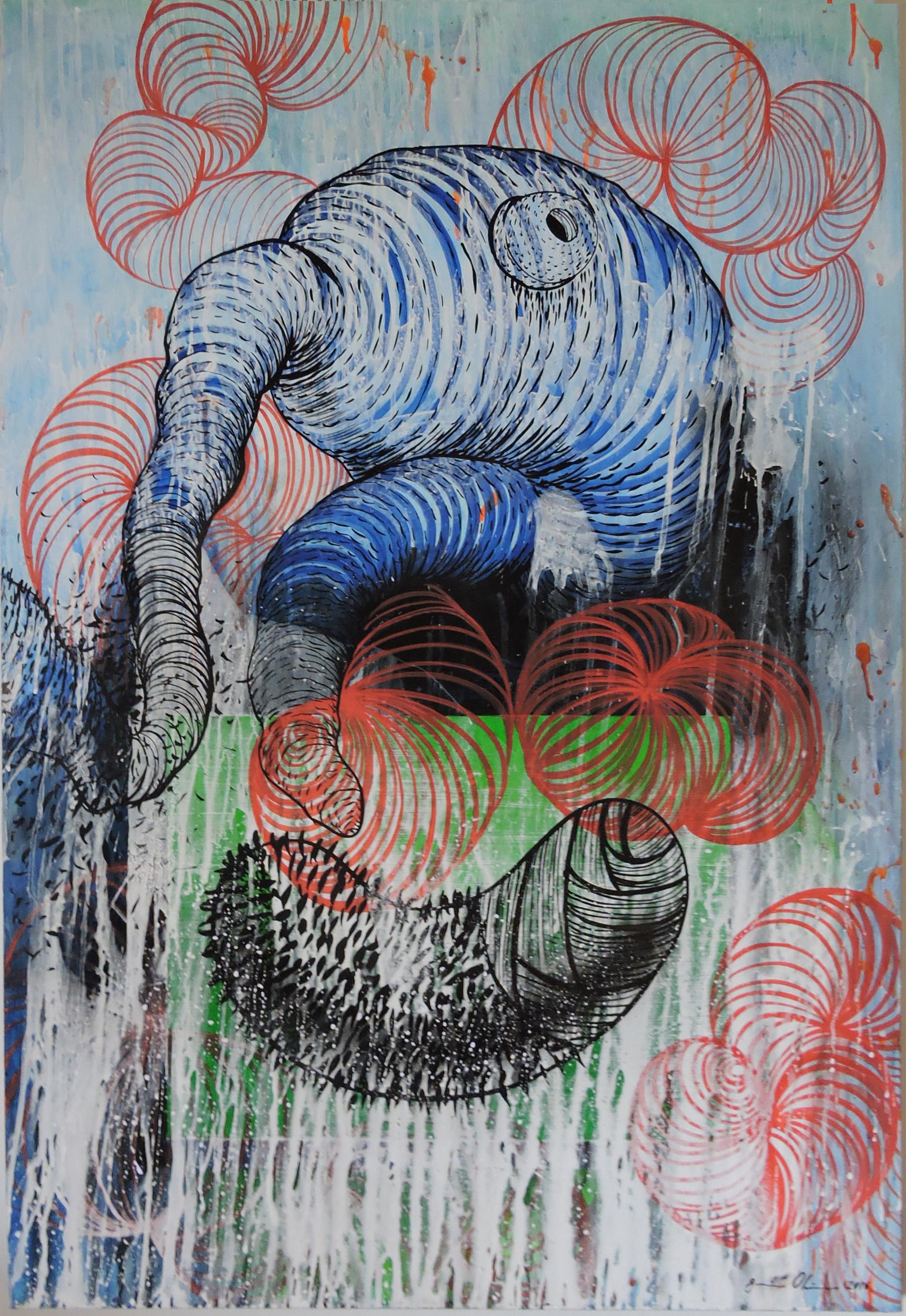 Genison Oliveira - Entre Peles II, 2016. Mista s tela, 120x80