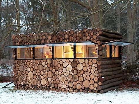 บ้านตกแต่งผนังด้วยท่อนไม้