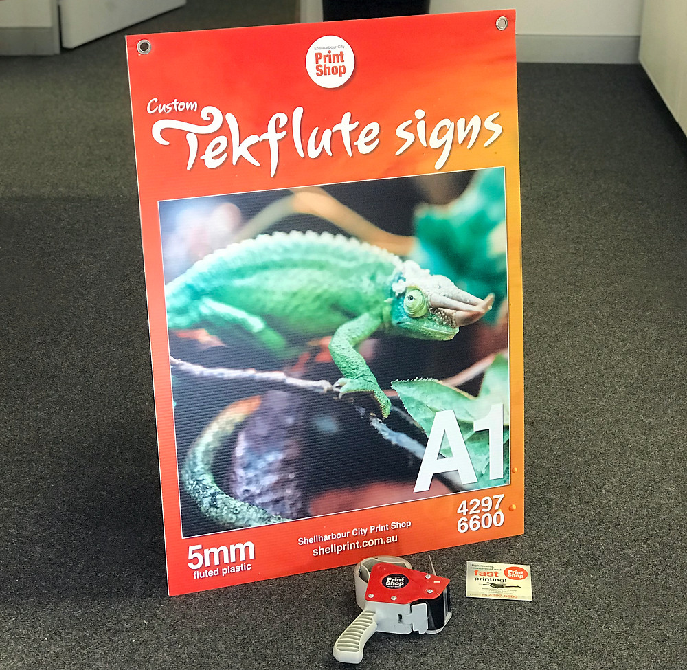 A printed poster onto 5mm fluted plastic, tekflute signs, at A1 size 594mm x 841mm. Printed single sided. Available at Shellharbour City Print Shop