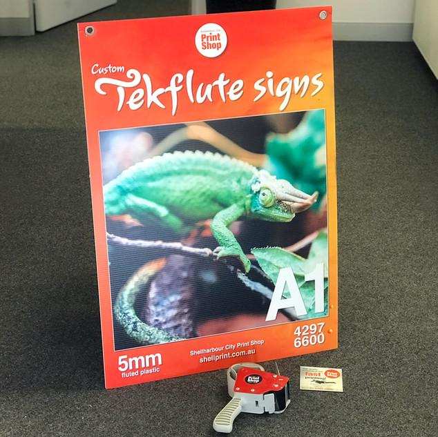 custom Tekflute signs A1 size (corflute)