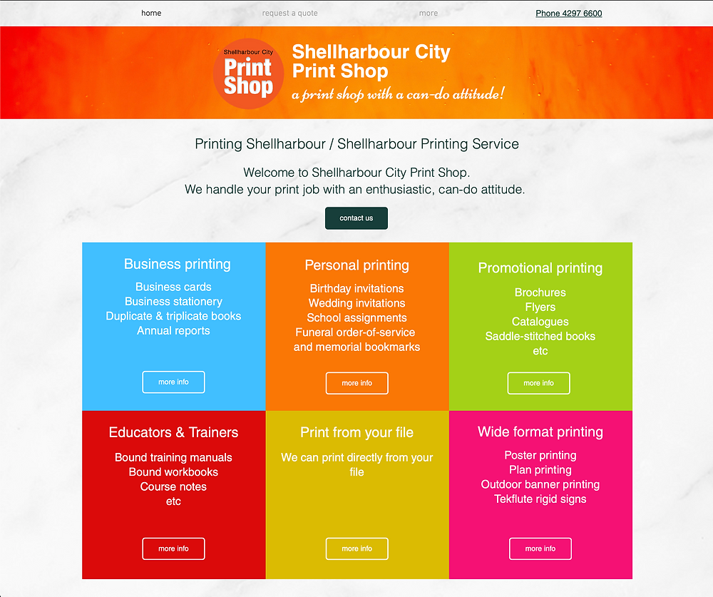 Specialising in printing in the Shellharbour area, this is a link to Shellharbour City Print Shop's website home page.
