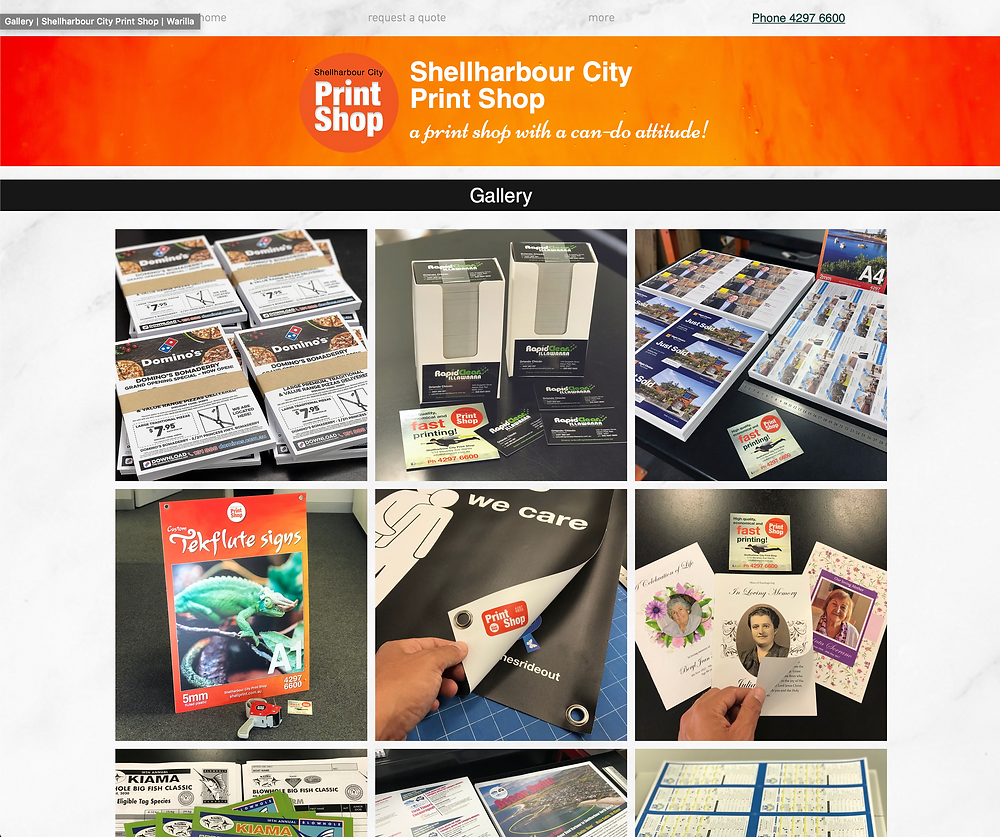 Specialising in printing in the Shellharbour area, this is a link to Shellharbour City Print Shop's website gallery page, which has a selection of images of print products produced at Shellharbour City Print Shop
