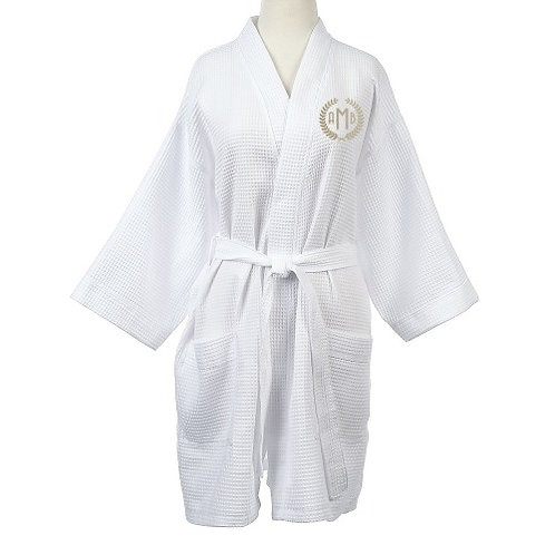 Waffle Weave Robe with Monogram