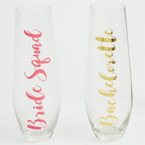 Bride Squad Stemless Champagne Glasses