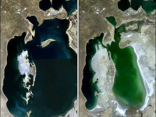 Soviet Union's Diversion of the Jaxartes and Oxus Rivers Drain the Aral Sea Dry