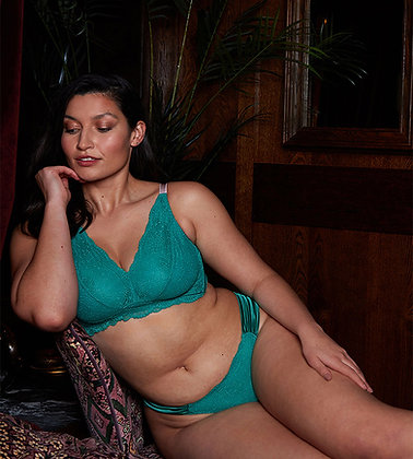 Love Rose | Hey Good Lookin' Pocketed Wire-Free Bra | Luxe Green & Lotus Pink