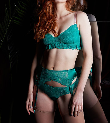 Love Rose | Here Comes Trouble Suspender Belt | Luxe Green