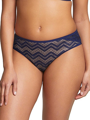 Shop the Royce Zahra Zig Zag Mid-Rise Brief in Navy & Cream with The Bra Sisters