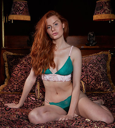 Love Rose | Lights Down Low Non-Pocketed Wire-Free Bra | Luxe Green & Lotus Pink