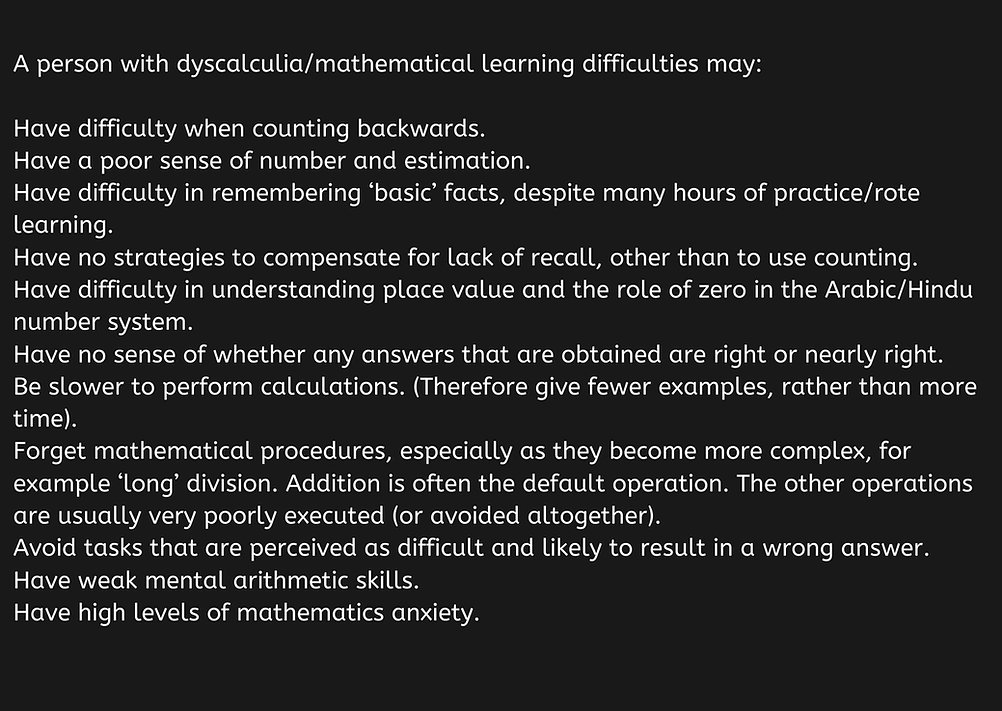 Dyscalculia definition Dyscalculia is a