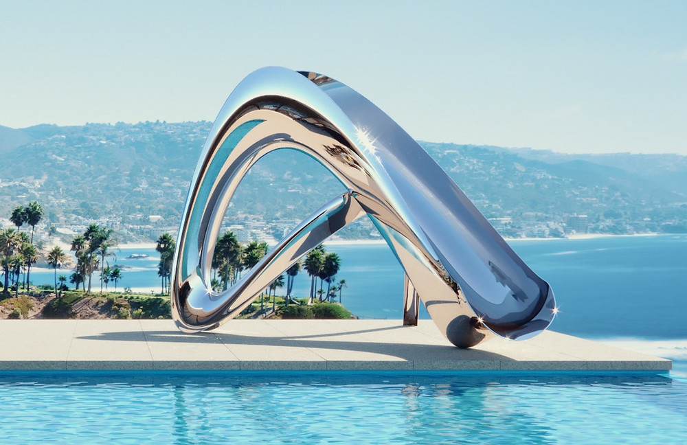 Water pool residential slides swimming Residential Pool