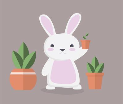 Bunny & Plants Cartoon