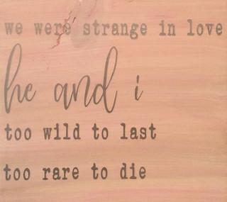 We Were Strange In Love