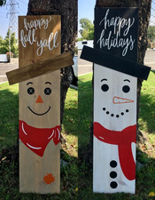 Happy Fall Y'all Scarecrow / Happy Holidays Snowman Reversible