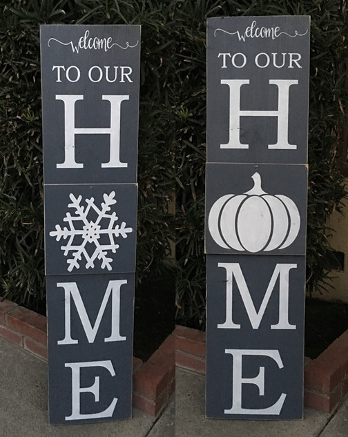 Welcome Interchangeable Porch Board w/Fall & Winter Tiles
