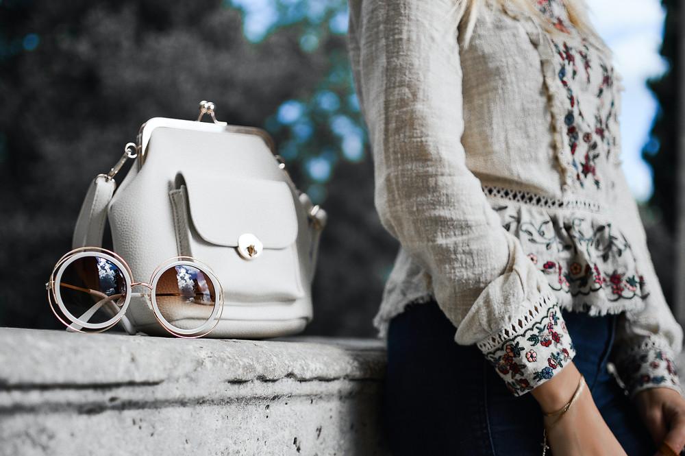 Women with handbag on street