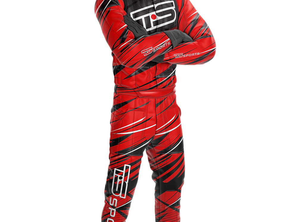 Macacão Race Padrão Masculino Vermelho | Preto
