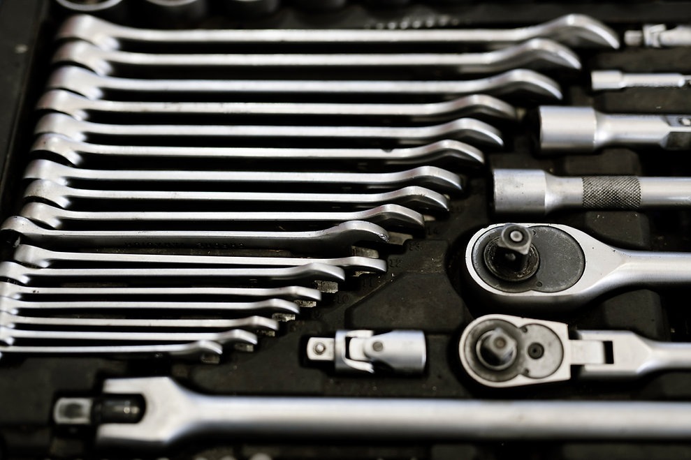 set-of-steel-technician-instruments-laid