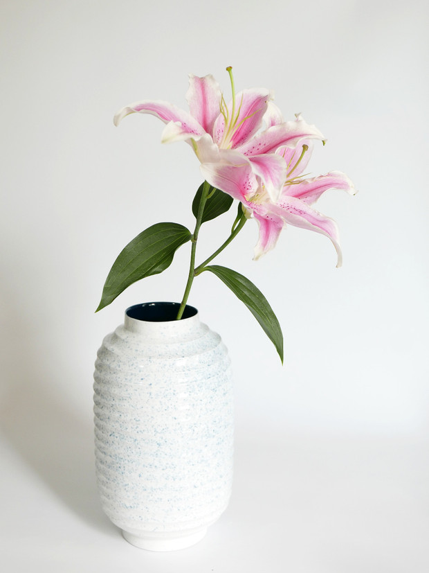 Vase Lampion Blanc Moucheté
