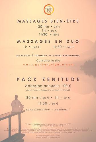 Tarifs massage avignon chateaurenard
