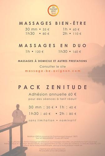 Tarifs massage Saint-rémy de Provence Avignon