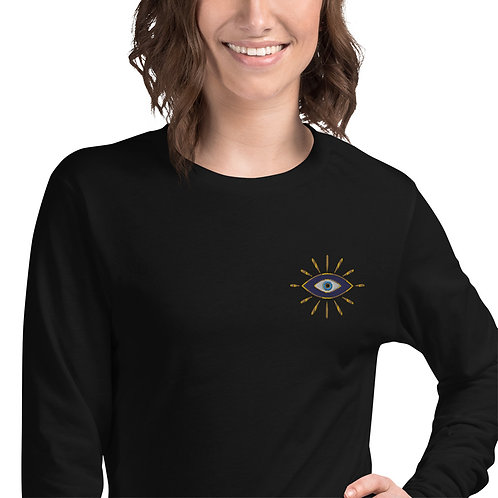 Gold Nazar Unisex Long Sleeve Embroidered Tee