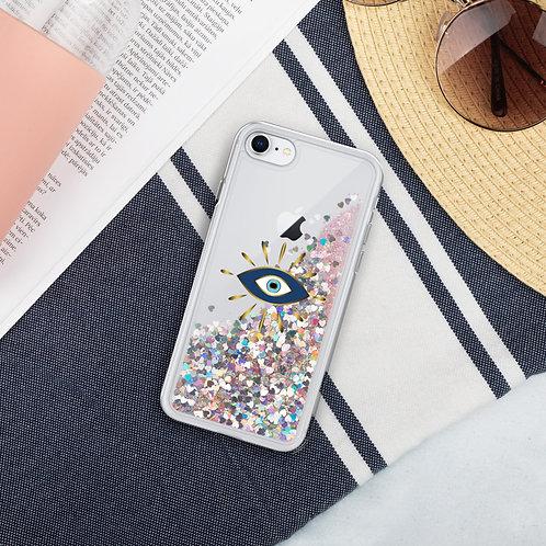 Gold Nazar Liquid Glitter Phone Case