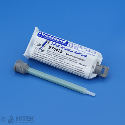50ml dual cartridge of Permabond ET5429 thixotropic adhesive with 120mm mixing nozzle