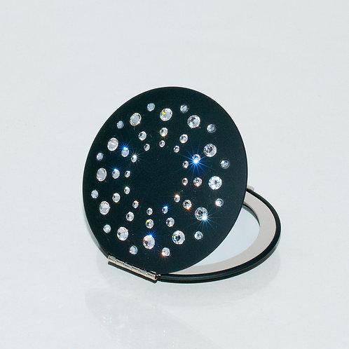 Mikaela Black Compact Mirror with Swarovski Crystals