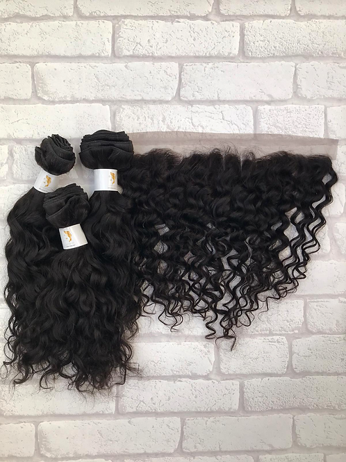 Admyhair Natural Wave Bundles + Frontal (Layered)