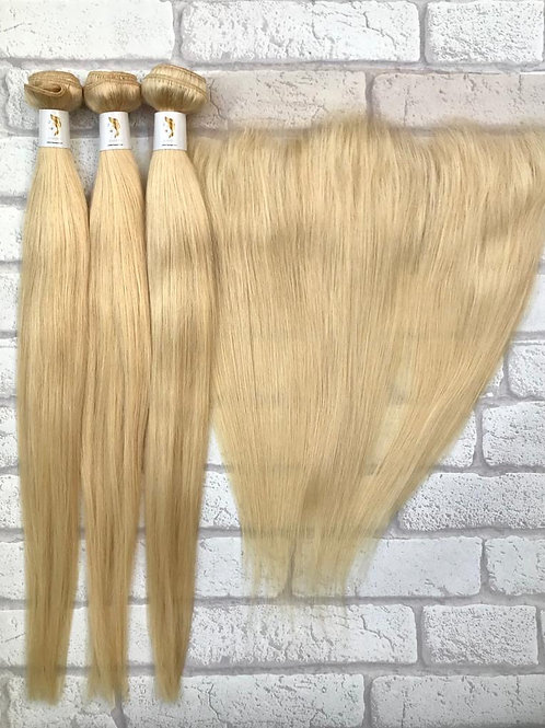 Admyhair Blonde Silky Straight Bundles + Frontal (Layered)