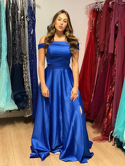 Vestido azul royal ombro a ombro