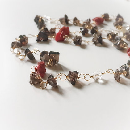 Long Necklace With Smokey Quartz & Coral