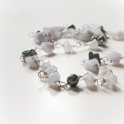 Long Necklace With Blue Lace Agate & Hematite