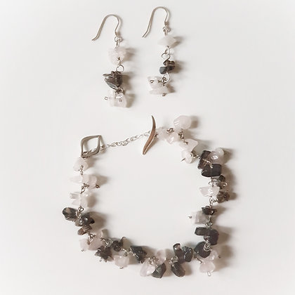 Earrings & Bracelet Set With Semi-Precious Stones