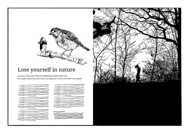 A magazine mockup illustrated by Zara M. and inspired by her one of her favourite publications, Breathe Magazine.