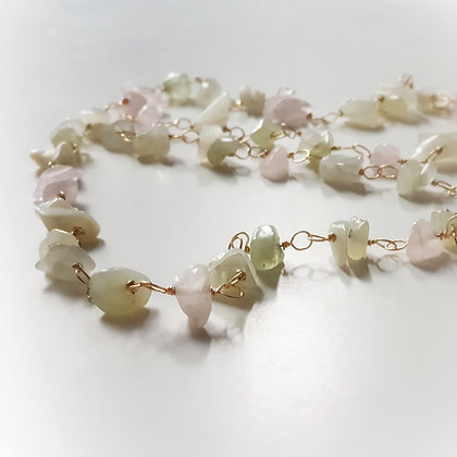 Long Necklace With Aquamarine & Rose Quartz (Gold-tone)