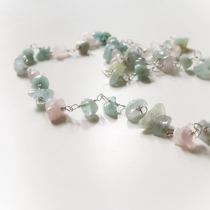 Long Necklace With Rose Quartz & Aquamarine