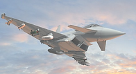 military aircraft in sunset sky and clouds