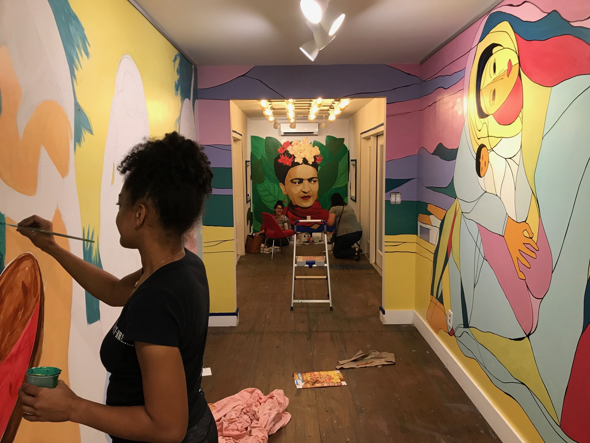 In-process mural installation