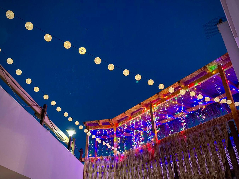 Lights at Casa Blanca Guest House Tenerife tiki bar