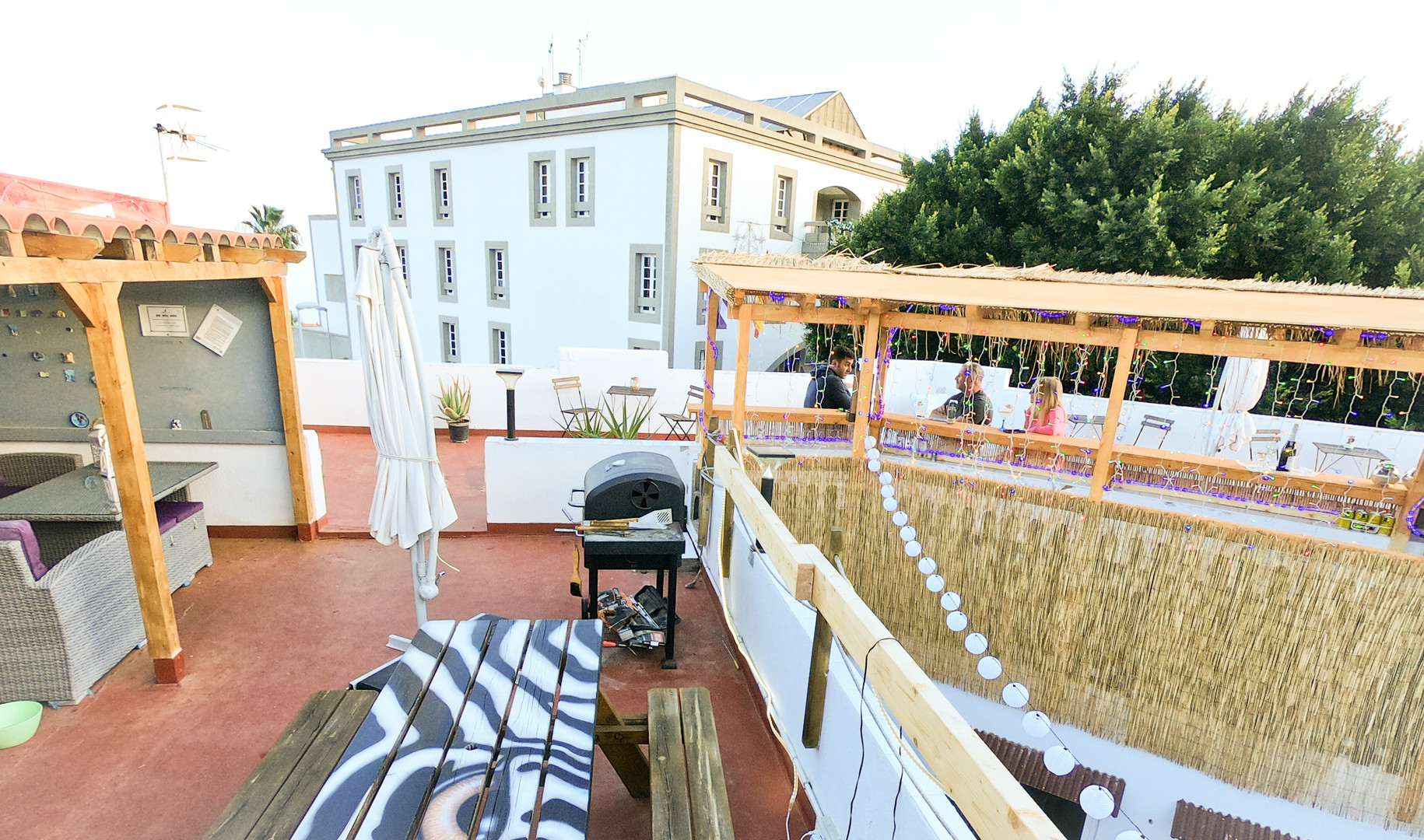 Wide angle shot of Casa Blanca Guest House Tenerife roof terrace