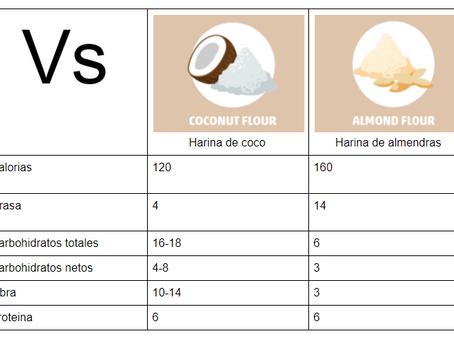 Harina de almendras vs harina de coco
